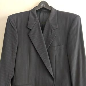 Custom Hickey Freeman Blue Pinstripe Suit S 50